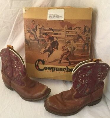 Rare Vintage 1950s Cowpuncher Tan Wine Kids Childs Girls Cowboy Cowgirl Boots