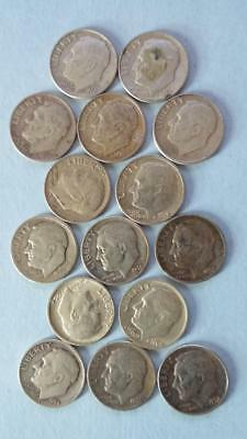 R136 Roosevelt 90% silver dime lot of 15 coins combine ship + $1 more per win