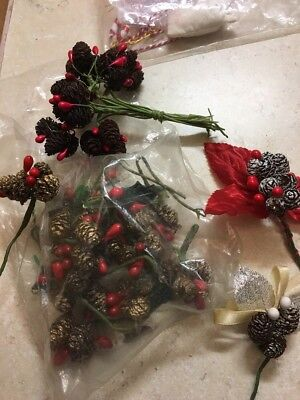 Vintage Lot Of Mini Shiny Brite Pine Cones Christmas Decorations