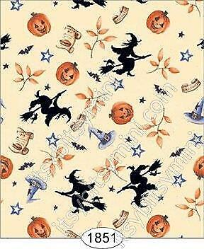 Miniature Dollhouse Wallpaper 1:12 Scale Halloween - Witches - 1851