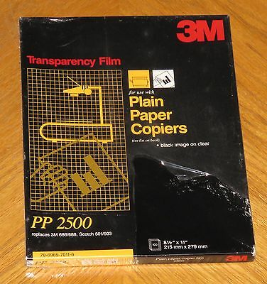3M PP2500 Transparency Film For Copiers 100 Sheets 8½ x 11 - New in Sealed Box