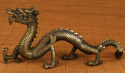 Big Chinese Old Bronze Solid Hand Carved Dragon Statue Ornament