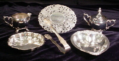 Vintage Lot of 6 Silver Plate Serving Pieces Trivet Dishes Creamer Sugar Tongs