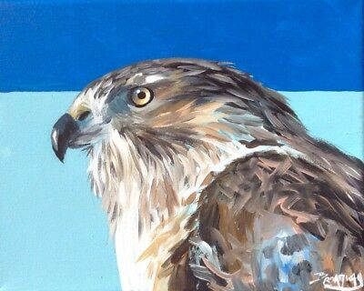 Original 8x10 in. Canvas Acrylic Impressionism  Red Tailed Hawk Painting