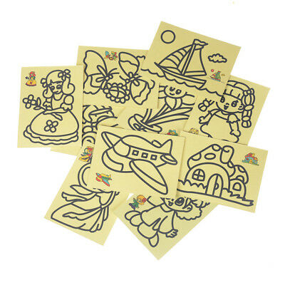 10pcs Kids DIY Color Sand Painting Art Creative Drawing Toys Sand Paper Craft AT