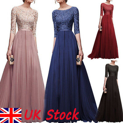 UK Womens Lace Chiffon Dress Formal Ball Gown Prom Bridesmaid Long Maxi Dresses