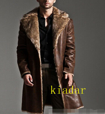 Men's winter leather fox fur coat lapel thick puffer jacket overcoat long parka