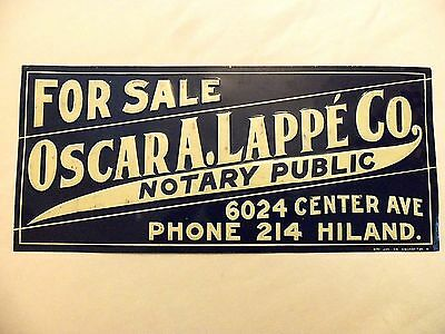 Antique Metal Sign Notary Public Old West Embossed Tin Telegraph Office Vintage