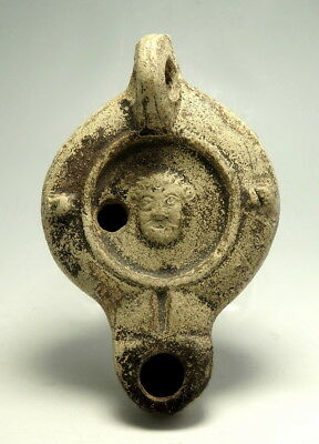 Roman Terracotta Factory Oil Lamp Depicting Actors Mask (M26)