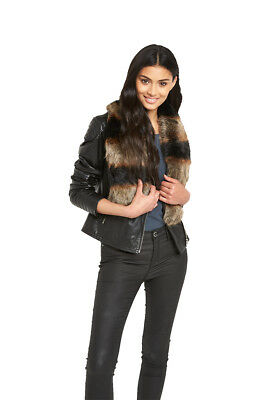 V By Very Tonal Patchwork Fur Collar In Multi