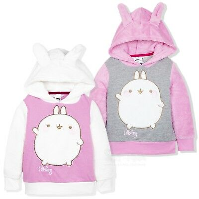 Molang Rabbit Official Girls Warm Hoodie Hooded Jumper Coral Fleece 2-6 Years