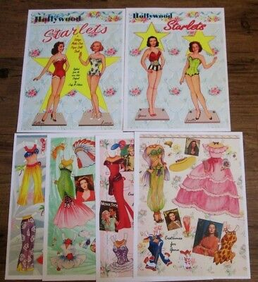 Hollywood Starlets Paper Dolls-Esther,Lana,Gene,Loretta ~ Reproduction *Uncut