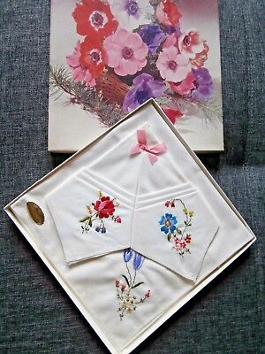 3 VINTAGE IRISH WHITE COTTON with PRETTY EMBROIDERY LADIES HANDKERCHIEFS ~ boxed