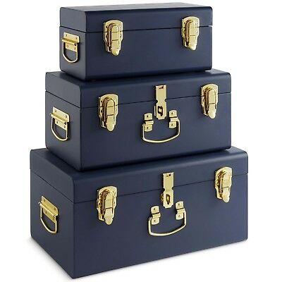 Beautify Set of 3 Navy Storage Trunks for Bedroom Living Room Brass Handles