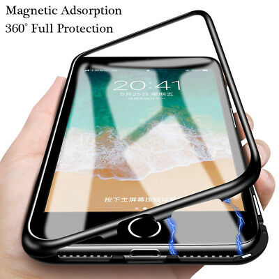 Magnetic Absorption Durable Case for iPhone Tempered Glass Cover Metal Bumper
