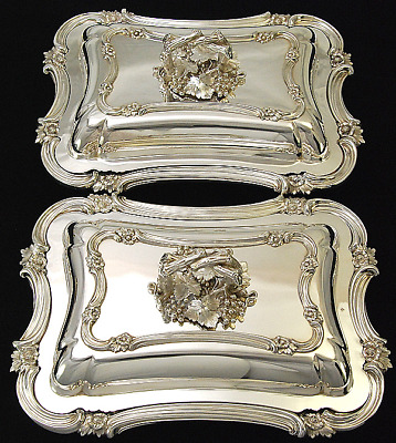 SUPERB PAIR ANTIQUE ELKINGTON SILVER PLATED ENTREE DISHES c1859