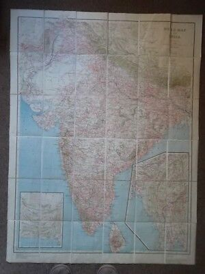 INDIA 1942 Edition Road map - linen backed - Very Large Size - WWII Map India