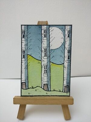 Original Watercolour Painting ACEO - Tree Folk