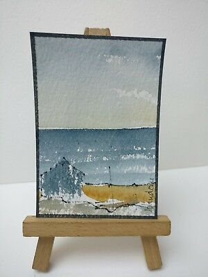 Original Watercolour Painting ACEO - Autumn Beach Walk