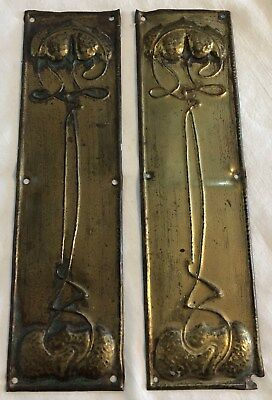 PAIR STYLISH ART NOUVEAU PERIOD PRESSED BRASS DOOR HANDLE FINGER PLATES c1910