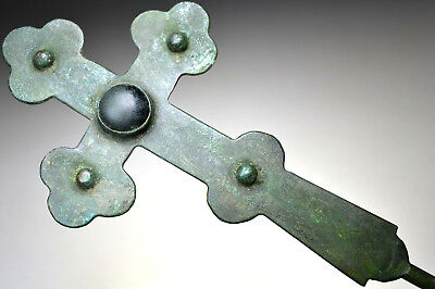 Large Byzantine Bronze Processional Cross with Stone
