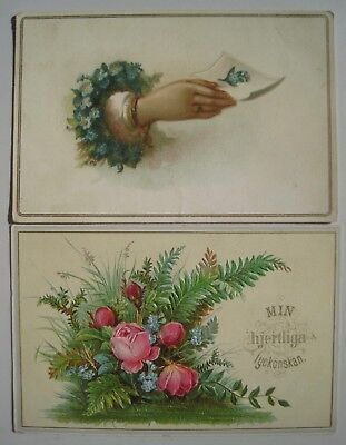 2 Old 1890s Victorian Greeting Cards; Hand; Flowers; Scandinavian Message