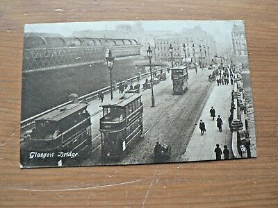 Old 1919 Tuck's Postcard: Glasgow Bridge, Scotland, Trams