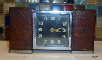 Vintage 8 Day Swiss Made Ermeto Alarm Clock Art Deco Leather As Is