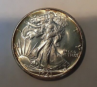 1943 Walking Liberty Gem Bu Silver Half Dollar W/nice Obverse Peripheral Toning