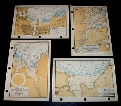 4 WW2 maps used for planning D-Day Invasion of FRANCE coastline - 1943