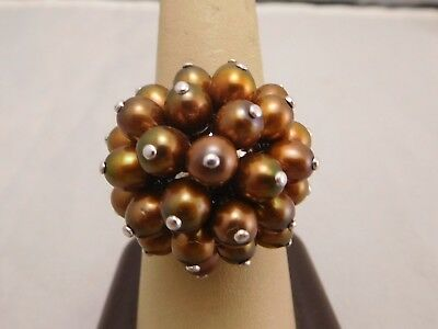 Vintage Sterling Silver Brown Pearls Stone Cluster Funky Size 10 Ring
