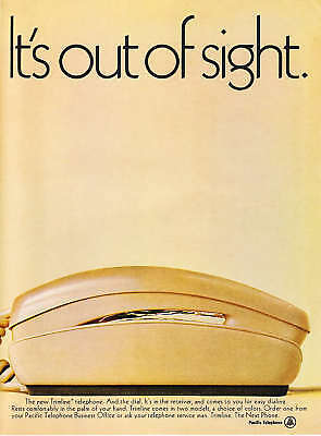 "1969 Pacific 'Trimline' Telephone photo ""Dial is Out of Sight"" vintage print ad"