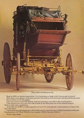 """1852 Stage Coach Bank photo """"Will Never Fly"""" 1969 Wells Fargo vintage print ad"""