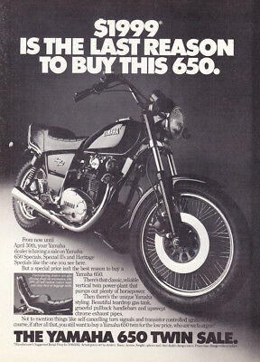 """1982 Yamaha 650 Heritage Special Motorcycle photo """"Unique Styling"""" print ad"""
