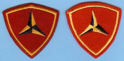 Two Different US Marine Corps USMC Original 3rd Division Patches WWII, 1 on Felt