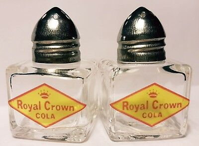 Rc Cola Royal Crown Soda Pop Glass Logo Salt And Pepper Shakers