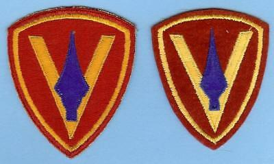 Two Different US Marine Corps USMC Original 5th Division Patches WWII, 1 on Felt