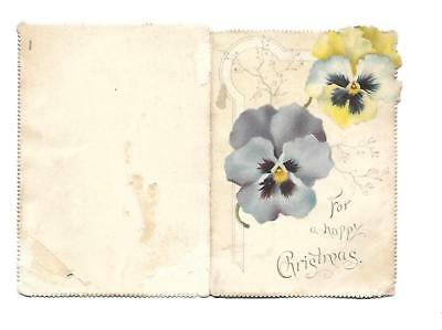 For a Happy Christmas Coombeg Davies Verse Pansies Folding Vict Card 1880s