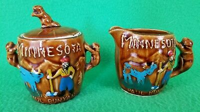 Minnesota Paul Bunyan Small Sugar & Creamer Set - Golden Aspen Thrifco Japan