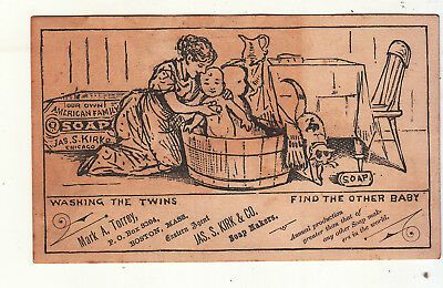 Jas S Kirk Soap Makers Mark Torrey Boston WASHING TWINS Puzzle Vict Card c1880s