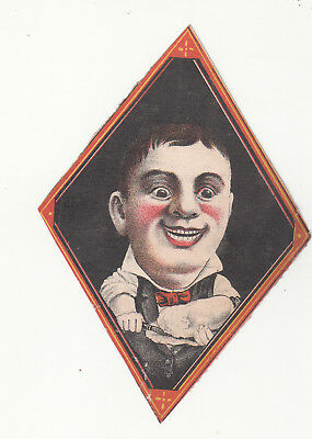 D D Mallory & Co Oysters Boy Shucking Oyster Shell Vict Card c1880s