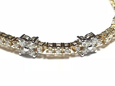 Beautiful Ladies Sterling Silver Floral Design CZ Tennis Bracelet - A Must See!