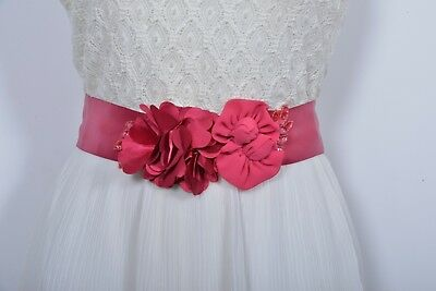 Bridal sash wedding belt with watermelon color chiffon flower and satin ribbon.