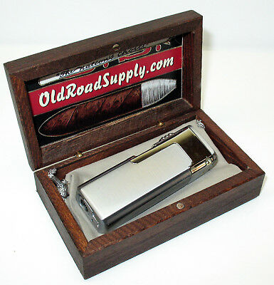 Old Road Brushed Quad Red Flame Butane Torch Cigar Lighter Punch w Mini Humidor