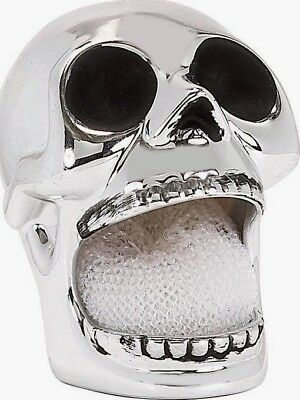 Boston Warehouse Halloween Chrome Silver Skull Scrubbie Holder Dish Sponge