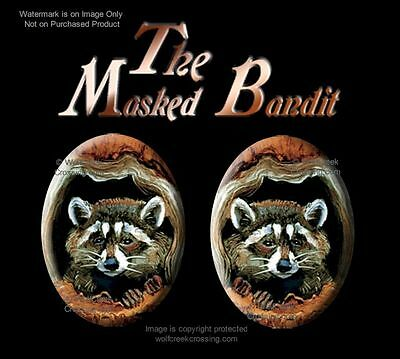 Masked Bandit Raccoon Earrings - Post Stud Pierced - Wildlife Art Free Ship  Br