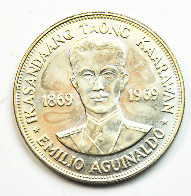 1869-1969 Philippines Silver Piso Prooflike Coin KM# 201 Rare