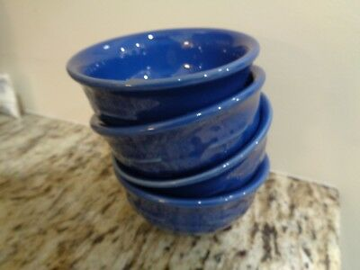 Longaberger Pottery Blue Cornflower Bowl Desert Bowl Set Of 4