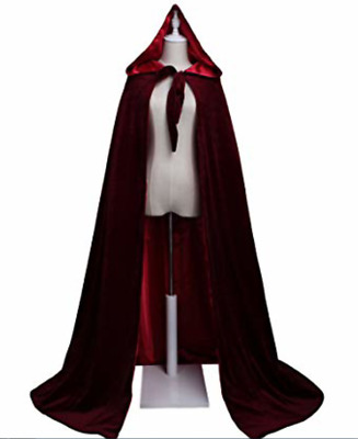 Black Burgundy Velvet Hooded Cloaks with Hood Vampire Coats Robe for Men Woman