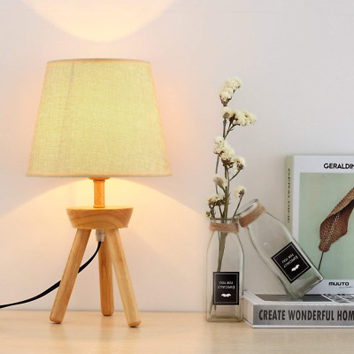 Table Lamp with Tripod Wooden Base Fabric Shade Night Stand Modern Bed Light